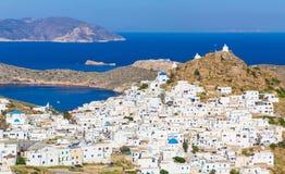 Chora stad, Ios-ö, Cyclades som är aegean, Grekland Arkivfoto