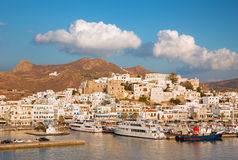 Chora - The town Chora (Hora) on the Naxos island at evening light in the Aegean Sea. Stock Photography