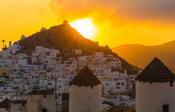Chora town, Ios island, Cyclades, Aegean, Greece. Chora town during sunset, Ios island, Cyclades, Aegean, Greece royalty free stock images