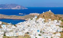 Chora town, Ios island, Cyclades, Aegean, Greece. View on Chora town, Ios island, Cyclades, Aegean, Greece stock photo