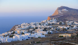 Chora village on Folegandros. Scenic view of Chora village on Folegandros island, Greece Royalty Free Stock Photo
