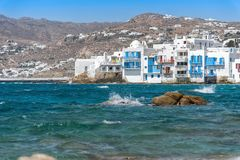 Chora village  Little Venice  - Mykonos Cyclades island - Aegean sea - Greece. View of Chora village  Little Venice  - Mykonos Cyclades island - Aegean sea stock photography