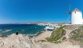 Chora village  Little Venice  - Mykonos Cyclades island - Aegean sea - Greece. View of Chora village  Little Venice  - Mykonos Cyclades island - Aegean sea royalty free stock image