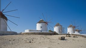 Chora village Windmills - Mykonos Cyclades island - Aegean sea - Greece stock photo