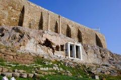 The Choragic Monument of Thrasyllus, Acropolis, Athens, Greece stock images