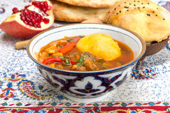 Chorba or Shurpa - a traditional Central Asian soup Stock Photo