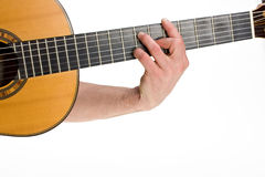 Chord. Male hand holding a chord on a classsical guitar Stock Photos