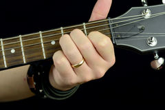 Chord on the guitar Stock Photography
