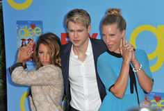 Chord Overstreet. Vanessa Lengies (left), Chord Overstreet & Heather Morris at the season four premiere of 'Glee' at Paramount Studios, Holywood. September 12 Royalty Free Stock Image
