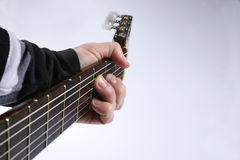 In the chord playing classical guitar Stock Photography