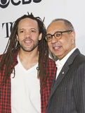 Choreographer Savion Glover and Director George C. Wolfe. Arrive for the 70th Annual Tony Awards Meet the Nominees press reception.  The event was held at the Stock Photography