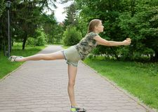 Choreographic dance in the park with ice cream in hands, the joy of the coming summer and holidays Stock Image