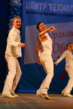 Choreographic miniature in the style of 60-ies - dancers performing troupe of the St. Petersburg music hall. Stock Photo