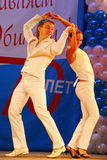 Choreographic miniature in the style of white - dancers performing troupe of the St. Petersburg music hall. Stock Photo