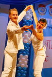 Choreographic miniature in the style of white - dancers performing troupe of the St. Petersburg music hall. Stock Photos