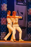 Choreographic miniature in the style of white - dancers performing troupe of the St. Petersburg music hall. Stock Photography