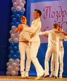 Choreographic miniature in the style of white - dancers performing troupe of the St. Petersburg music hall. Stock Image
