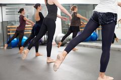 Choreography. Group of women attending class of choreography royalty free stock photography