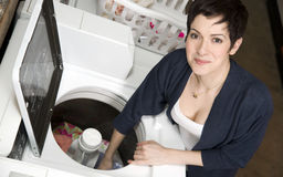 Renewal Chores Happy Woman Cleans Garments Washer Royalty Free Stock Photos