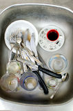 Chores, dirty dishes in the sink Stock Image