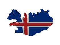 chorągwiana 3d mapa Iceland odpłaca się Fotografia Royalty Free