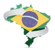 Chorągwiana mapa zmienia pomysłu pojęcie Brazylia Zdjęcia Stock