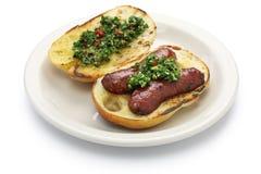 Choripan, Argentine style chorizo hot dog Stock Photography