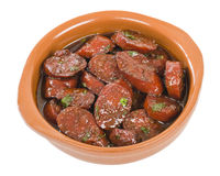 Chorizo al Vino. (Spicy sausage cooked in red wine). Traditional Spanish tapas dish Royalty Free Stock Images