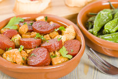 Chorizo & Bread and Padron Peppers Tapas Stock Photo