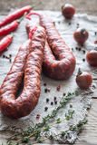 Chorizo with cherry tomatoes Royalty Free Stock Photography