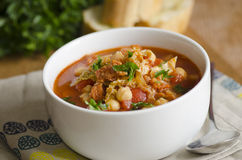 Chorizo and chickpea soup Royalty Free Stock Photography