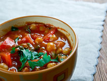 Chorizo  chickpea soup Royalty Free Stock Image