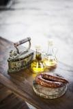 Chorizo chourico spanish portuguese rustic smoked pork sausage Stock Image