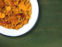 Chorizo del pollo e re Prawn Paella Meal Fotografia Stock