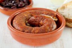 Chorizo in dish Royalty Free Stock Photos
