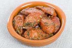 Chorizo & erbe Fotografia Stock Libera da Diritti