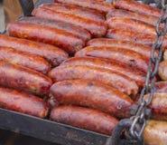 Chorizo espagnol sur le barbecue Images libres de droits