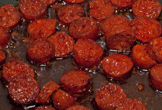Chorizo Frying Royalty Free Stock Image