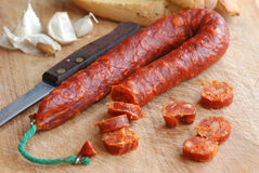 Chorizo with garlic bread Stock Image