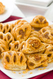 Chorizo Lattice Rolls. Spanish chorizo and red pepper wrapped in pastry Stock Photo