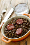 Chorizo with lentil on dish Stock Photography