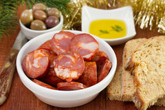 Chorizo with olives, bread Royalty Free Stock Images