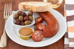 Chorizo with olives Stock Image