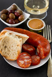 Chorizo with olives, pate Royalty Free Stock Photo