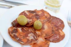 Chorizo and Olives Royalty Free Stock Photos