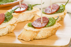 Chorizo & Padron Peppers Pinchos Stock Photography