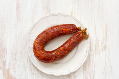 Chorizo on plate Royalty Free Stock Photos