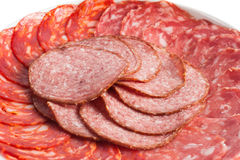 Chorizo, salchichon and salami Stock Photos