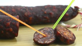 Chorizo, sausage of Spain stock footage
