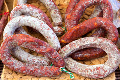 Chorizo sausage traditional pork meat food Spain Royalty Free Stock Photos